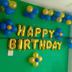 Birthday Decor – Blue & Golden Balloons